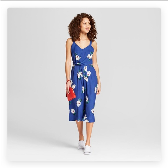 51d557f3357 Target Floral Twist Front Jumpsuit New Day Blue